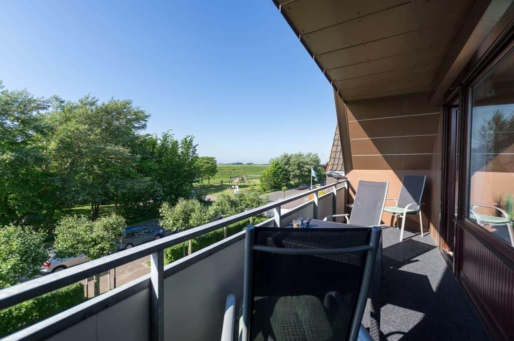 Balkon der ****Ferienwohnung diekskieker in Westerdeichstrich bei Büsum